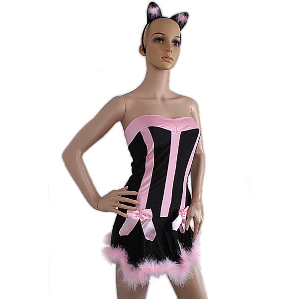 90701 Black With Pink Villi Sexy Lingerie Costume Bunny Rabbit Dress