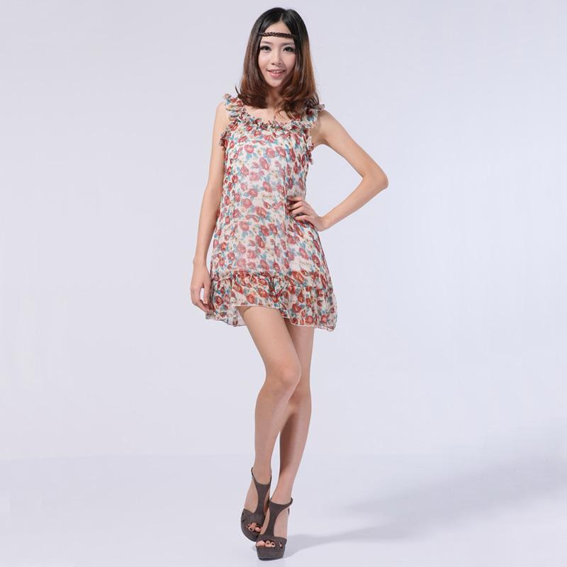 Ladys Ruffled Trimmed Chiffon Slip Dress w/ Flounced Hem White