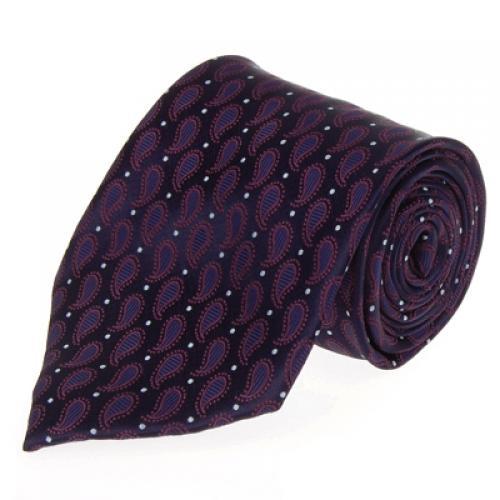 Dark Blue Silk Tie Necktie with Dark Red Water Drop Pattern