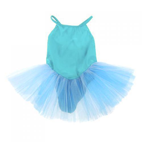 Girl Ballet Dance Dress Gymnastic Leotard Straps Tutu 7-8 Yrs - Blue