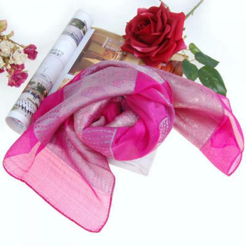 Rectangular Long Silk Scarf Shawl Flower Leaf Design - Purplish Red