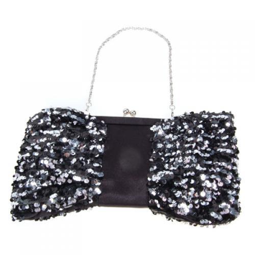 1882# Dress Banquet Handbag Glittering Sequins Lady Bag Black