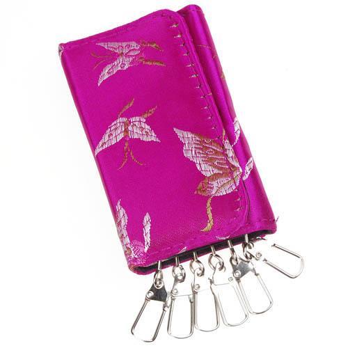 Brocade Butterfly Key Purse Wallet 6 Holder Ring - Fuchsia