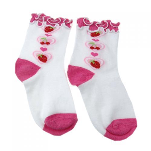 Cherry Strawberry Heart Children Kids Socks Shocking - White and Shocking Pink