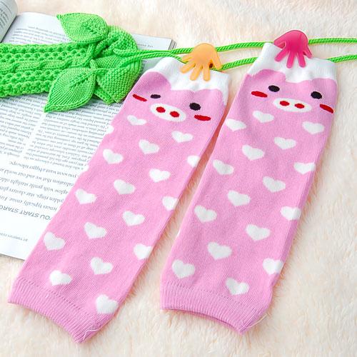 Pig Pattern Leggings Leg Warmers for Children - Pink and White