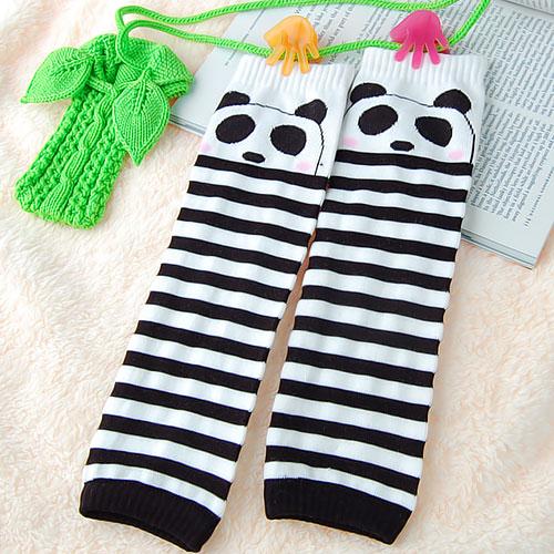 Cartoon Panda Pattern Leggings Leg Warmers for Children - Black and White Stripes
