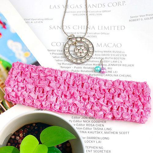 1.5 Inch Elastic Baby Toddler Girls Crochet Headband - Bubblegum