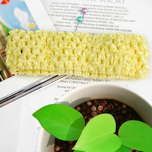 1.5 Inch Elastic Baby Toddler Girls Crochet Headband - Yellow