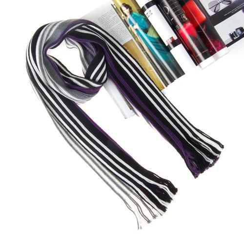 Mens Fashion Long Stripe Fringe Trim Acrylic Scarf 1002#