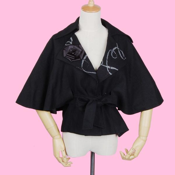 Women Half Sleeve Batwing Short Coat Top Black