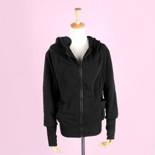 Woman Casual Zip Hoodie Hoody Outerwear Jacket Coat Black