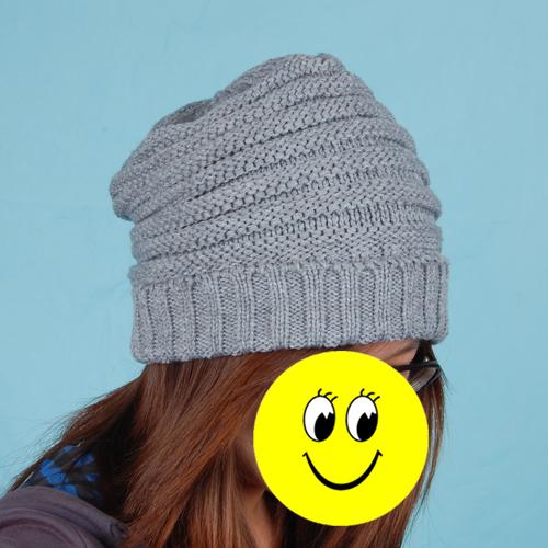 Unisex Knitted Crochet Hat Skull Ski Cap Beanie Bonnet w/ Stripe - Grey