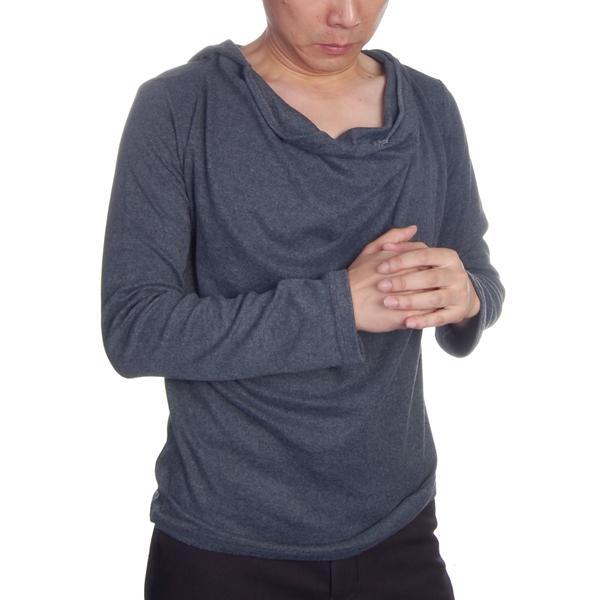 Mens Turtleneck Shirring Hoodie Hooded T-shirt L - Dark Gray