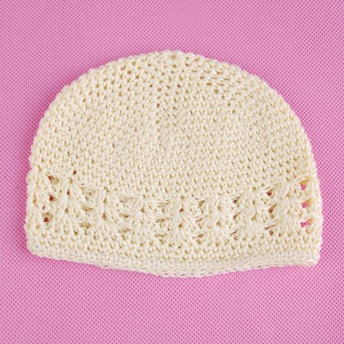 Crochet Handmade Beanie Cap Hat Baby Toddler Kids - Beige