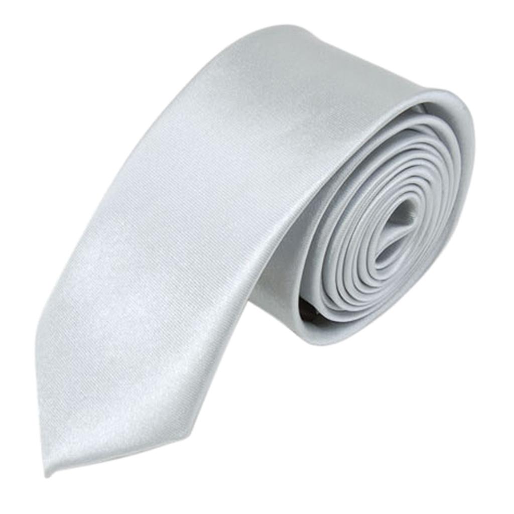 Unisex Casual Necktie Skinny Slim Narrow Neck Tie - Solid Silver