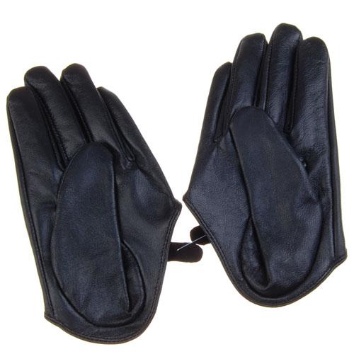 Fashion Five Fingers Half Palm Sheep Skin Leather Gloves - Black L