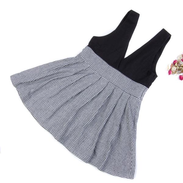 Black and White Houndstooth Women Fall Winter Suspender Jumper Dress Skirt