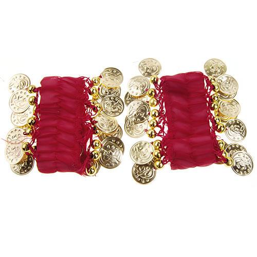 1 Pair Belly Dance Arm Cuff Wrist Bracelets w/ 18 Golden Coins - Red