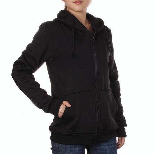 Unisex Stylish Hoodie Coat Zipper Hooded Jacket M - Black