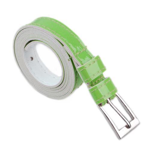 Ladies Skinny PU Leather Belt Dress Belt - Lime