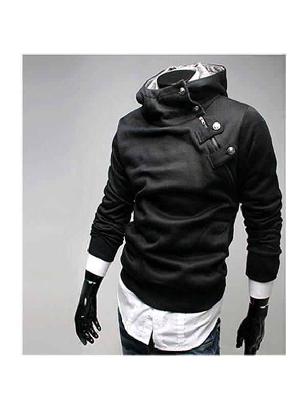 Mens Stylish Slim Short Side Zipper Pullover Hoodie Jacket - Black
