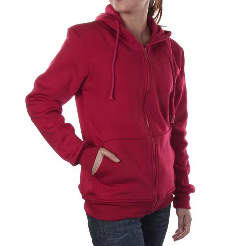 Unisex Stylish Hoodie Coat Zipper Hooded Jacket XL - Red