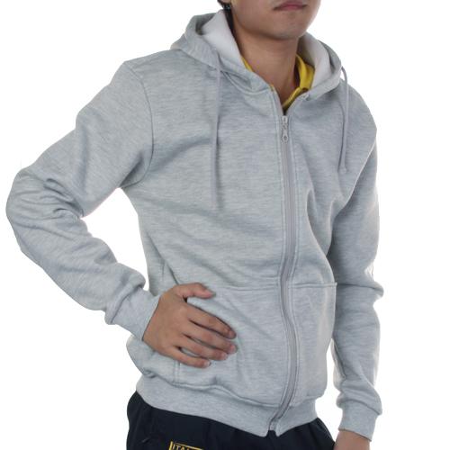 Unisex Stylish Hoodie Coat Zipper Hooded Jacket M - Light Grey