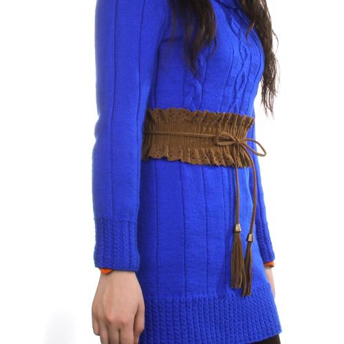 Women Ladies Fashion Ruffle Stretch Waist Belt High Waist Wide Belt w/ Tassels - Coffee