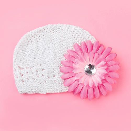 Crochet Handmade Beanie Cap Hat Baby Toddler Kids w/ Daisy Flower...