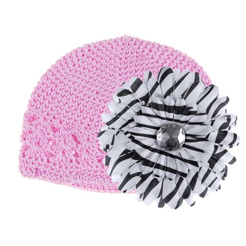 Crochet Handmade Beanie Cap Hat Baby Toddler Kids w/ Daisy Flower - Pink