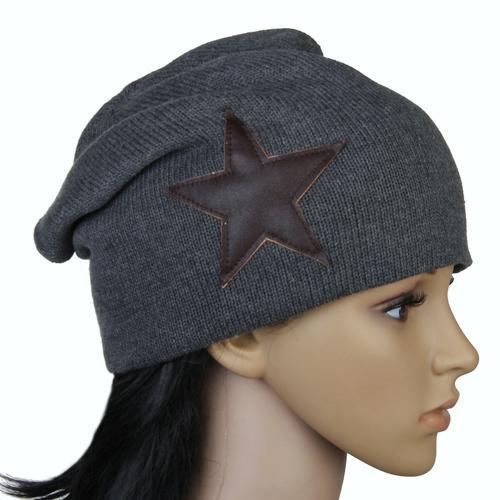 Unisex Knitted Hat Skull Ski Cap Beanie Bonnet w/ Star - Darkgrey