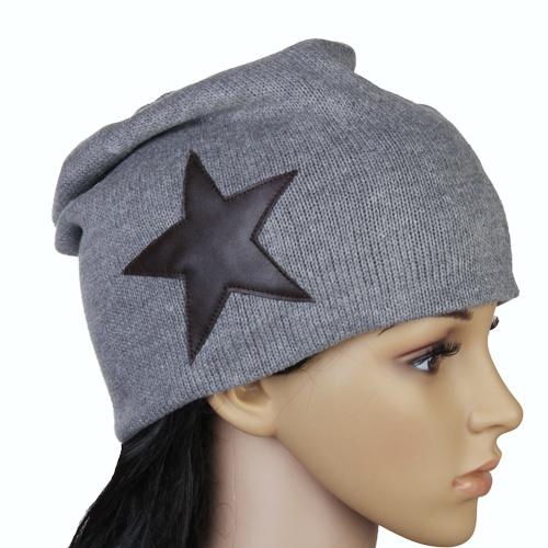 Unisex Knitted Hat Skull Ski Cap Beanie Bonnet w/ Star - Grey