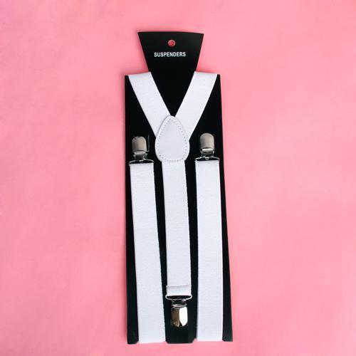 Clip-on Braces Elastic Y-back Suspender 37x1 inch - White