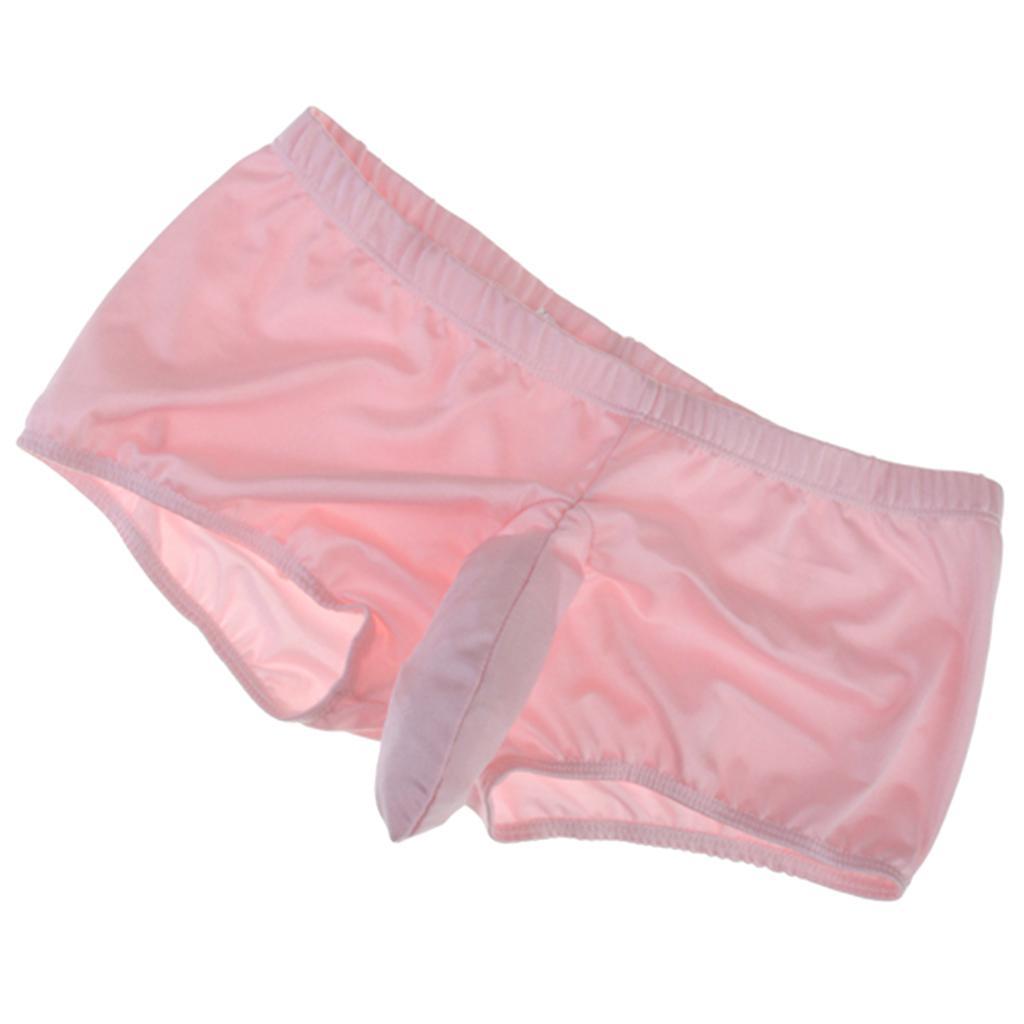 Mens Boxer Brief Stretch Thong Underwear w/ Closed Sheath - Pink