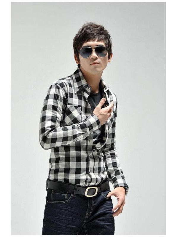 Mens Casual Slim Plaid Check Shirt Black And White XL