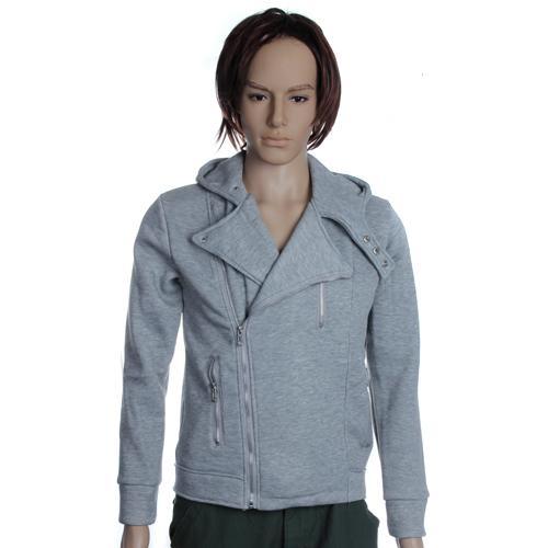 Unisex Unbalanced Rider Hoodie Hooded Jacket Zipup Coat Size L - Light Grey