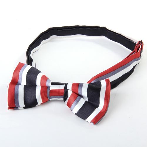 Mens Tuxedo Stripe Woven Bow Tie Bowtie Necktie Black And Red