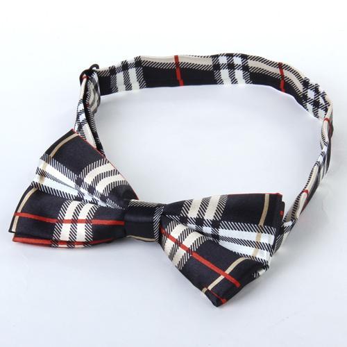 Mens Tuxedo Grid Woven Bow Tie Bowtie Necktie Beige And Black