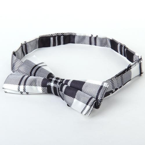 Mens Tuxedo Grid Woven Bow Tie Bowtie Necktie Black And White