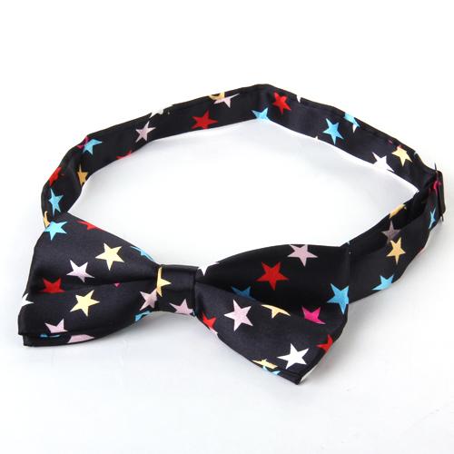 Mens Tuxedo Star Woven Bow Tie Bowtie Necktie Black
