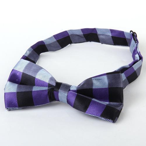 Mens Tuxedo Grid Woven Bow Tie Bowtie Necktie Purple And Black