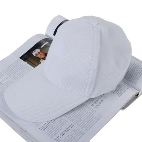 Unisex Baseball Sport Plain Cap Hat - White