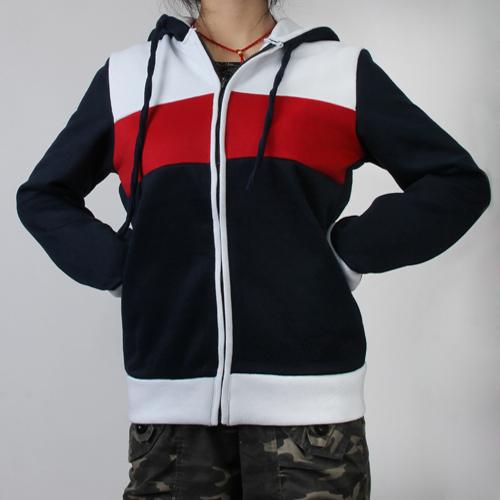 Unisex Hoodie Coat Zipper Hooded Jacket XL - Dark Blue