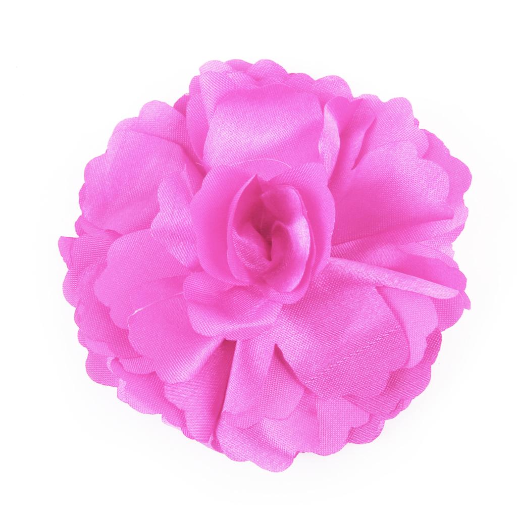 Women Girls Satin Peony Flower Hair Clip Brooch Rose