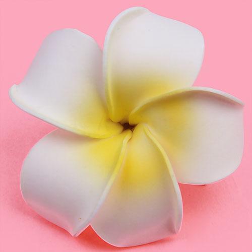 Women Girls Plumeria Flower Foam Hair Clip - White