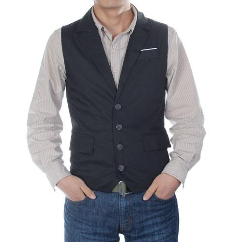 Mens Slim Fit Suit Dress Vest Waiscoat w/ Tailored Collar Size L - Black