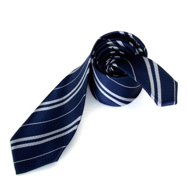 Mens Casual Necktie Narrow Skinny Slim Neck Tie - Navy Blue w/ Silver Grey Stripes