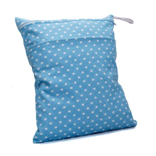 Waterproof Reusable Blue Cloth Diaper Wet Bag w/ White Dots