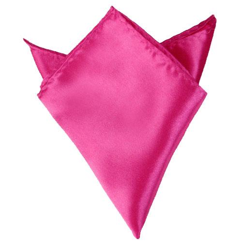 Hot Pink 8.5 Inch Square Satin Hanky Handkerchief for Men