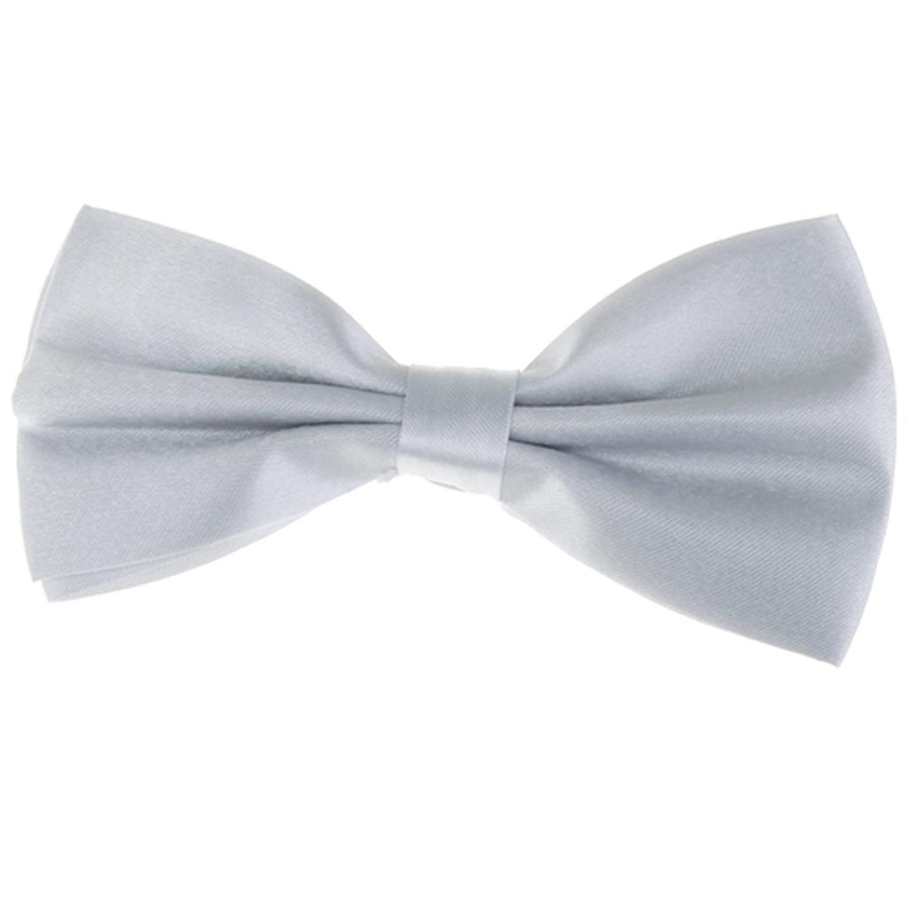 Tuxedo Bow Tie Bowtie Necktie for Men - Silver Gray